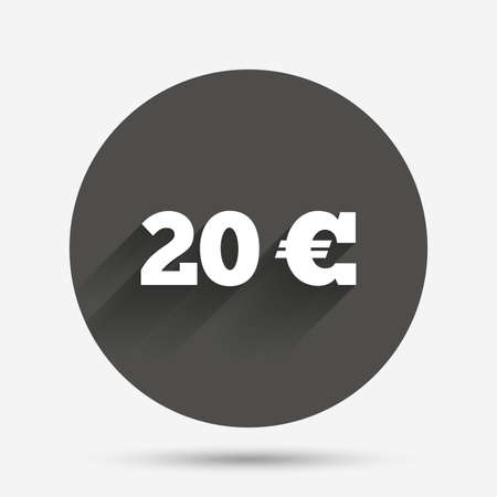 20 euro: 20 Euro sign icon. EUR currency symbol. Money label. Circle flat button with shadow. Vector