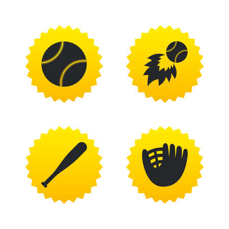 Baseball sport icons. Ball with glove and bat signs. Fireball symbol. Yellow stars labels with flat icons. Vector