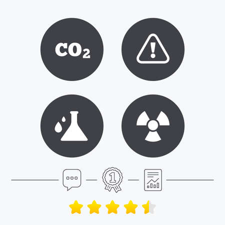 danger carbon dioxide  co2  labels: Attention and radiation icons. Chemistry flask sign. CO2 carbon dioxide symbol. Chat, award medal and report linear icons. Star vote ranking. Vector