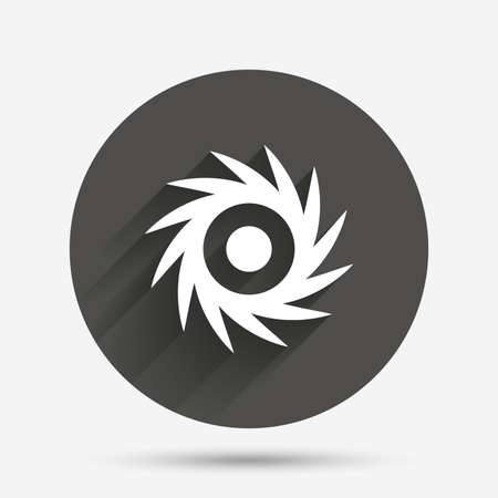 saw blade: Saw circular wheel sign icon. Cutting blade symbol. Circle flat button with shadow. Vector