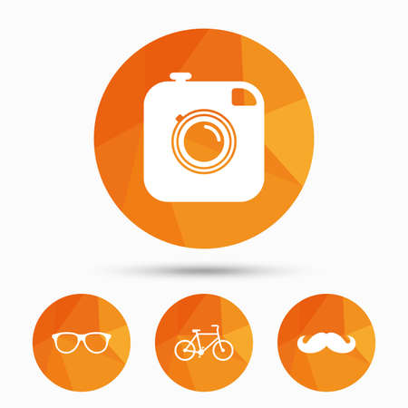 triangular eyes: Hipster photo camera with mustache icon. Glasses symbol. Bicycle family vehicle sign. Triangular low poly buttons with shadow. Vector Illustration