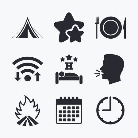 breakfast in bed: Food, sleep, camping tent and fire icons. Knife, fork and dish. Hotel or bed and breakfast. Road signs. Wifi internet, favorite stars, calendar and clock. Talking head. Vector
