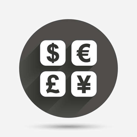 converter: Currency exchange sign icon. Currency converter symbol. Money label. Circle flat button with shadow. Vector