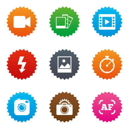auto focus: Photo, video icons. Camera, photos and frame signs. Flash, timer and landscape symbols. Stars label button with flat icons. Vector Illustration