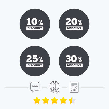 20 25: Sale discount icons. Special offer price signs. 10, 20, 25 and 30 percent off reduction symbols. Chat, award medal and report linear icons. Star vote ranking. Vector