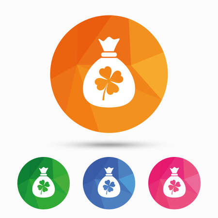 clover button: Money bag with Clover sign icon. Saint Patrick symbol. Triangular low poly button with flat icon. Vector