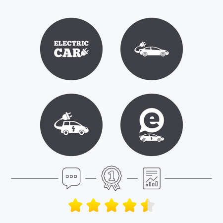 energy ranking: Electric car icons. Sedan and Hatchback transport symbols. Eco fuel vehicles signs. Chat, award medal and report linear icons. Star vote ranking. Vector Illustration