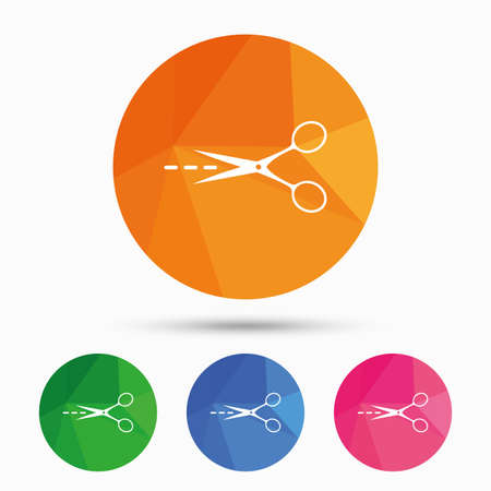 low cut: Scissors with cut dash dotted line sign icon. Tailor symbol. Triangular low poly button with flat icon. Vector Illustration