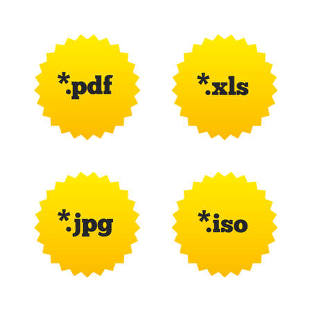 xls: Document icons. File extensions symbols. PDF, XLS, JPG and ISO virtual drive signs. Yellow stars labels with flat icons. Vector