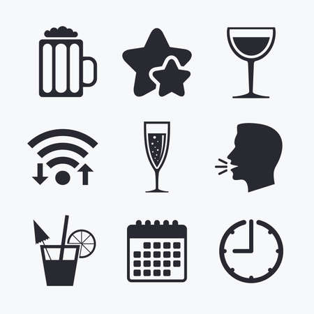 alcoholic drinks: Alcoholic drinks icons. Champagne sparkling wine with bubbles and beer symbols. Wine glass and cocktail signs. Wifi internet, favorite stars, calendar and clock. Talking head. Vector Illustration