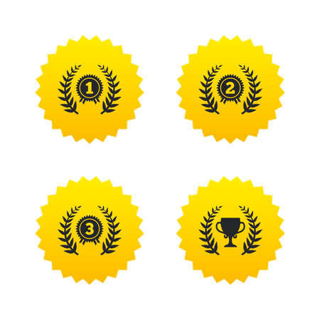 second prize: Laurel wreath award icons. Prize cup for winner signs. First, second and third place medals symbols. Yellow stars labels with flat icons. Vector