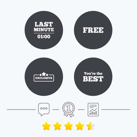 free vote: Last minute icon. Exclusive special offer with star symbols. You are the best sign. Free of charge. Chat, award medal and report linear icons. Star vote ranking. Vector