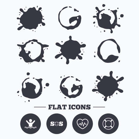 drowns: Paint, coffee or milk splash blots. SOS lifebuoy icon. Heartbeat cardiogram symbol. Swimming sign. Man drowns. Smudges splashes drops. Vector Illustration