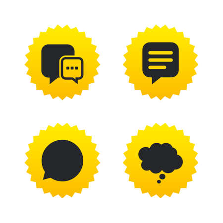 symbol yellow: Chat icons. Comic speech bubble signs. Communication think symbol. Yellow stars labels with flat icons. Vector Illustration