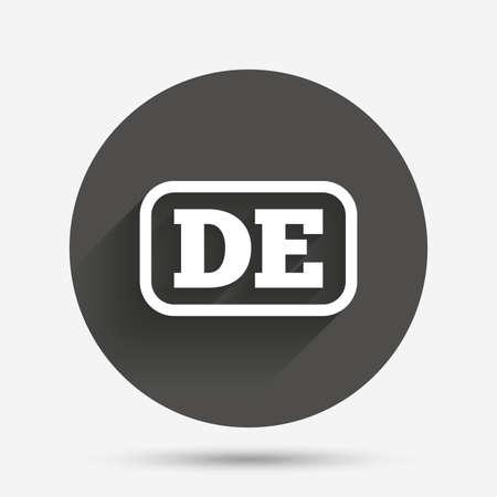 deutschland: German language sign icon. DE Deutschland translation symbol with frame. Circle flat button with shadow. Vector