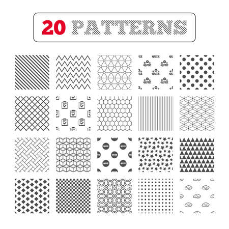 feedback form: Ornament patterns, diagonal stripes and stars. Quiz icons. Human brain think. Checklist symbol. Survey poll or questionnaire feedback form. Questions and answers game sign. Geometric textures. Vector