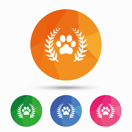 low prizes: Winner pets laurel wreath sign icon. Dog paw symbol. Triangular low poly button with flat icon. Vector