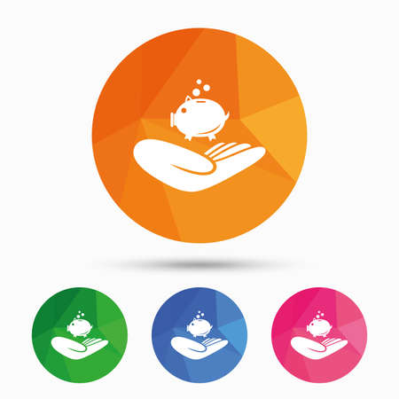 endowment: Donation hand sign icon. Hand holds Piggy bank. Charity or endowment symbol. Human helping hand palm. Triangular low poly button with flat icon. Vector Illustration