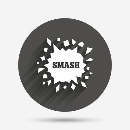 smash: Cracked hole icon. Smash or break symbol. Circle flat button with shadow. Vector