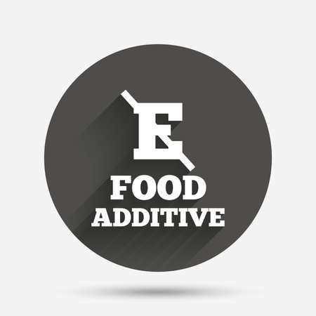 acetic: Food additive sign icon. Without E symbol. Healthy natural food. Circle flat button with shadow. Vector Illustration