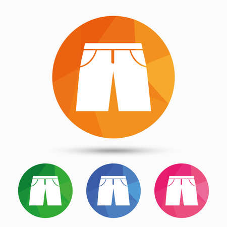 beachwear: Mens Bermuda shorts sign icon. Clothing symbol. Triangular low poly button with flat icon. Vector