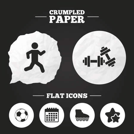 crumpled paper ball: Crumpled paper speech bubble. Football ball, Roller skates, Running icons. Fitness sport symbols. Gym workout equipment. Paper button. Vector