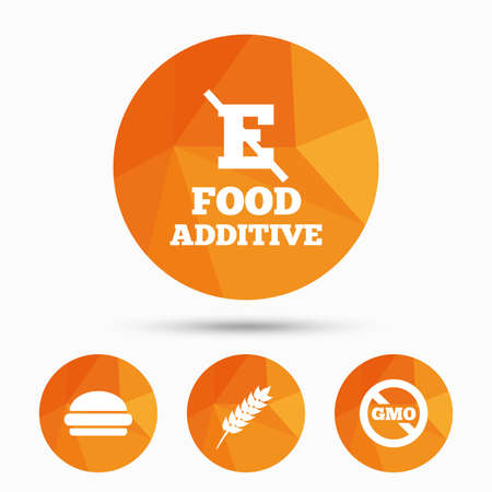 stabilizers: Food additive icon. Hamburger fast food sign. Gluten free and No GMO symbols. Without E acid stabilizers. Triangular low poly buttons with shadow. Vector