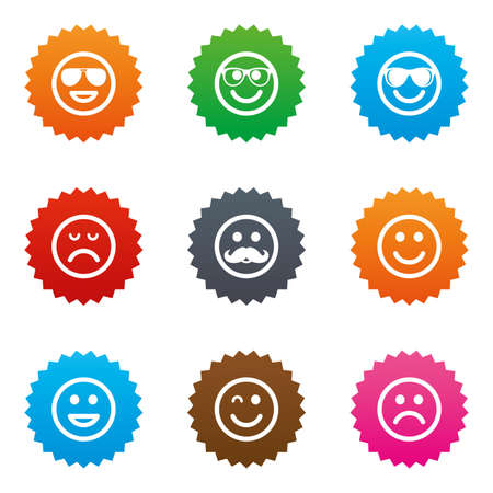 wink: Smile icons. Happy, sad and wink faces signs. Sunglasses, mustache and laughing lol smiley symbols. Stars label button with flat icons. Vector Illustration