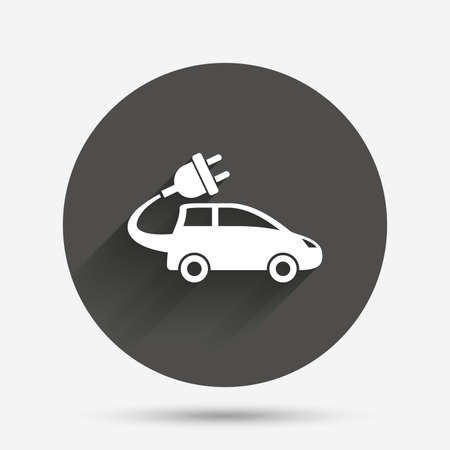 hatchback: Electric car sign icon. Hatchback symbol. Electric vehicle transport. Circle flat button with shadow. Vector