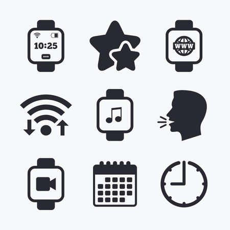 watch video: Smart watch icons. Wrist digital time watch symbols. Music, Video, Globe internet and wi-fi signs. Wifi internet, favorite stars, calendar and clock. Talking head. Vector