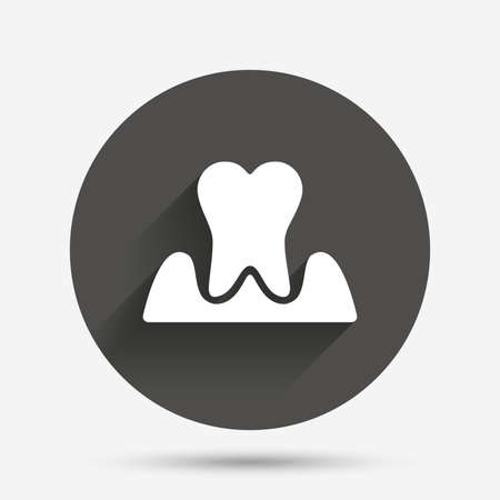 gingivitis: Parodontosis tooth icon. Gingivitis sign. Inflammation of gums symbol. Circle flat button with shadow. Vector Illustration