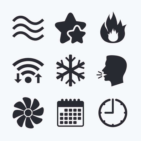 water supply: HVAC icons. Heating, ventilating and air conditioning symbols. Water supply. Climate control technology signs. Wifi internet, favorite stars, calendar and clock. Talking head. Vector