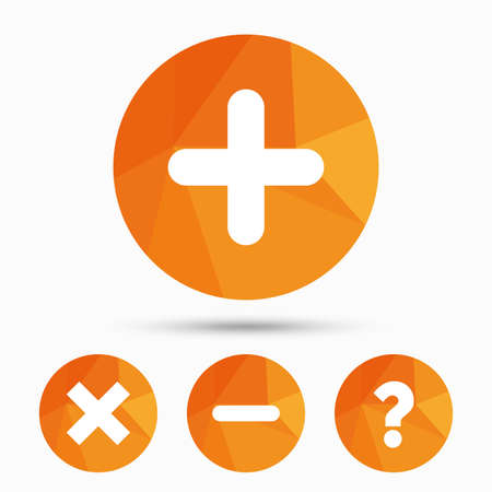 sign orange: Plus and minus icons. Delete and question FAQ mark signs. Enlarge zoom symbol. Triangular low poly buttons with shadow. Vector
