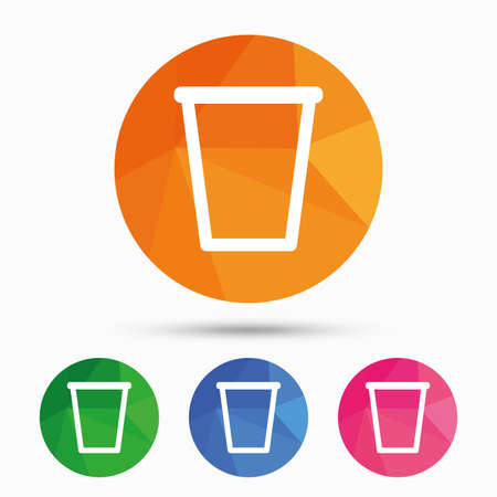 Recycle bin sign icon. Bin symbol. Triangular low poly button with flat icon. Vector