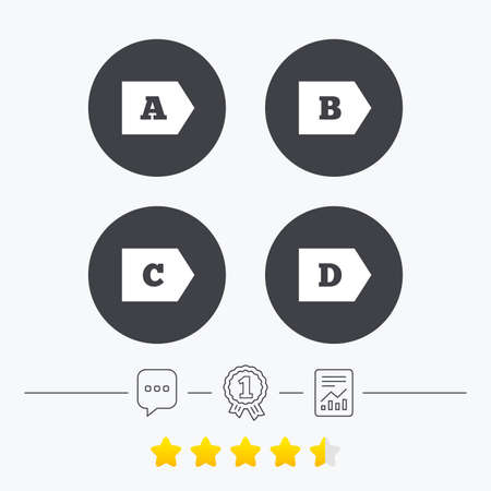 energy ranking: Energy efficiency class icons. Energy consumption sign symbols. Class A, B, C and D. Chat, award medal and report linear icons. Star vote ranking. Vector