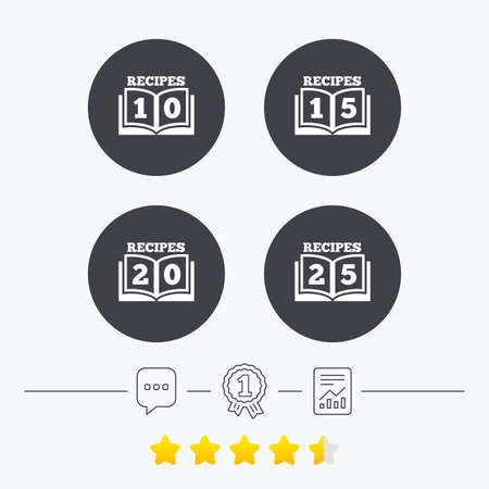 15 to 20: Cookbook icons. 10, 15, 20 and 25 recipes book sign symbols. Chat, award medal and report linear icons. Star vote ranking. Vector