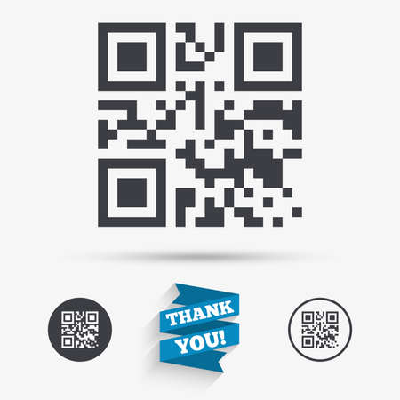 qrcode: Qr code sign icon. Scan code symbol. Coded word - success! Flat icons. Buttons with icons. Thank you ribbon. Vector