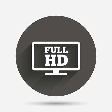 full hd: Full hd widescreen tv sign icon. High-definition symbol. Circle flat button with shadow. Vector
