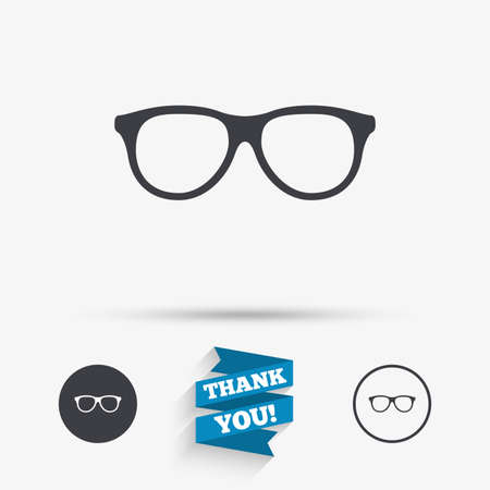 eyeglass frame: Retro glasses sign icon. Eyeglass frame symbol. Flat icons. Buttons with icons. Thank you ribbon. Vector Illustration