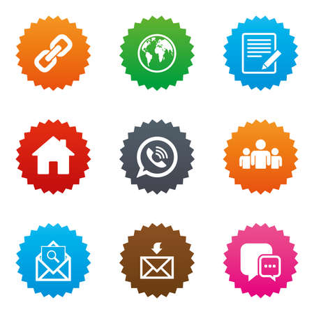 Communication icons. Contact, mail signs. E-mail, call phone and group symbols. Stars label button with flat icons. Vector Illustration