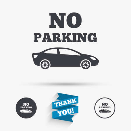 no parking sign: No parking sign icon. Private territory symbol. Flat icons. Buttons with icons. Thank you ribbon. Vector Illustration