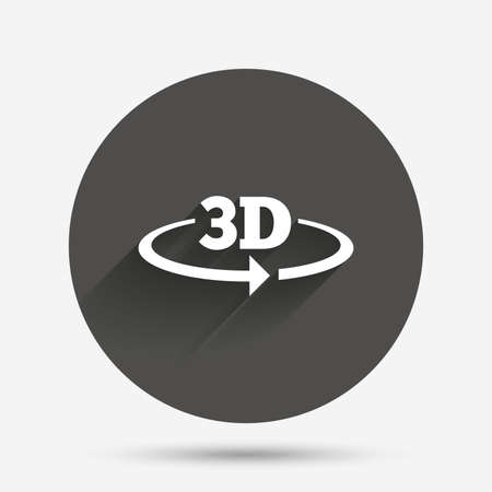 new technology: 3D sign icon. 3D New technology symbol. Rotation arrow. Circle flat button with shadow. Vector