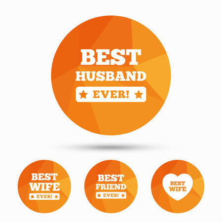 low prizes: Best wife, husband and friend icons. Heart love signs. Award symbol. Triangular low poly buttons with shadow. Vector