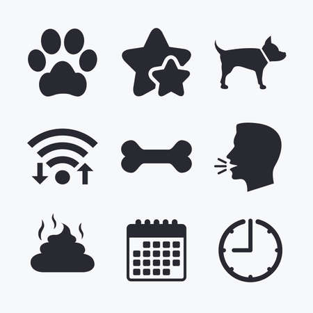 feces: Pets icons. Dog paw and feces signs. Clean up after pets. Pets food. Wifi internet, favorite stars, calendar and clock. Talking head. Vector Illustration