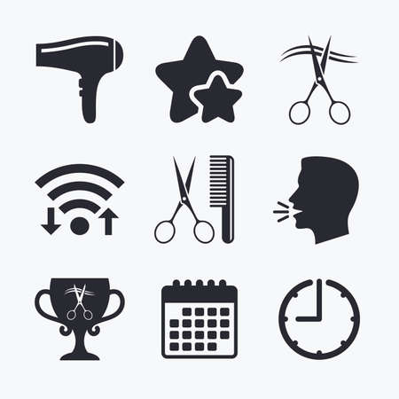 comb hair: Hairdresser icons. Scissors cut hair symbol. Comb hair with hairdryer symbol. Barbershop winner award cup. Wifi internet, favorite stars, calendar and clock. Talking head. Vector
