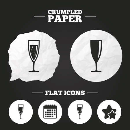 chardonnay: Crumpled paper speech bubble. Champagne wine glasses icons. Alcohol drinks sign symbols. Sparkling wine with bubbles. Paper button. Vector Illustration