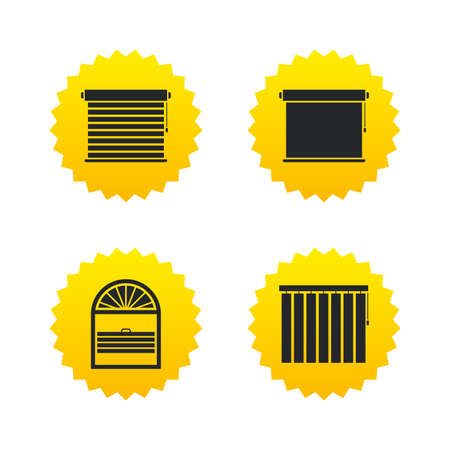 window blinds: Louvers icons. Plisse, rolls, vertical and horizontal. Window blinds or jalousie symbols. Yellow stars labels with flat icons. Vector