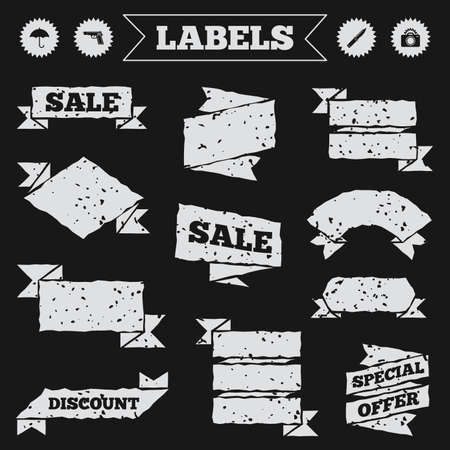 edged: Stickers, tags and banners with grunge. Gun weapon icon.Knife, umbrella and photo camera with flash signs. Edged hunting equipment. Prohibition objects. Sale or discount labels. Vector Illustration