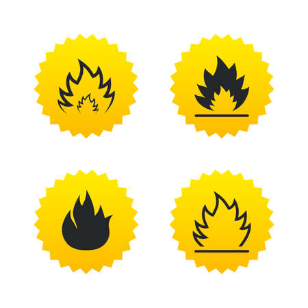 inflammable: Fire flame icons. Heat symbols. Inflammable signs. Yellow stars labels with flat icons. Vector