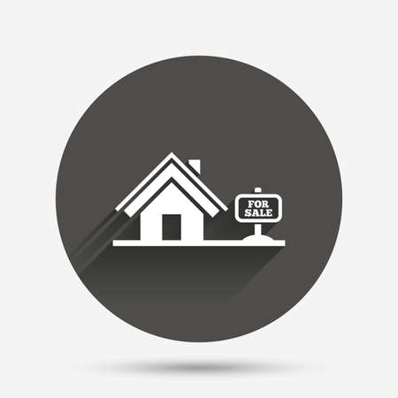 house for sale: Home sign icon. House for sale. Broker symbol. Circle flat button with shadow. Vector Illustration